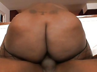 Big booty ebony rides black dong reverse cowgirl