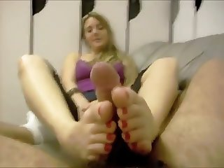 Greek girl making an amateur footjob