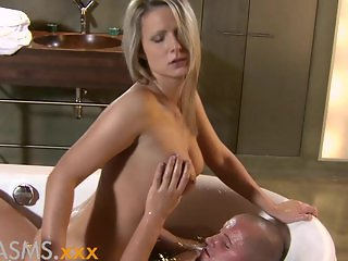 ORGASMS Bathroom fuck with hot blonde
