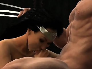3D Wonder Woman getting her pussy licked by Wolverine