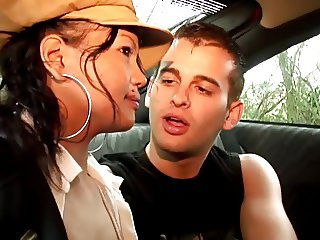 Small bresated asian chick sucks dude's cock in car backseat then fucks threesom