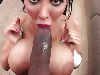 Huge tits Amy sucks big black cock