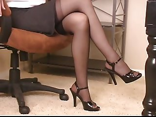 Hot brunette bitch in office dildo fucks and fondles her cunt in nylons
