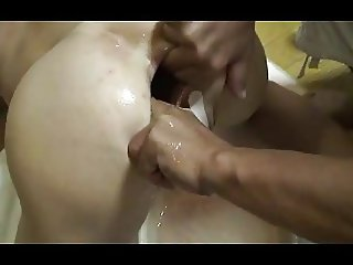 Rough Japanese anal fisting and bottle insertion