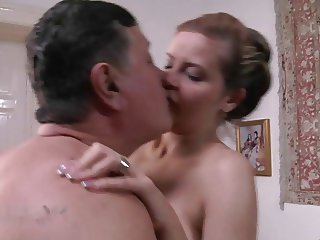 young, blonde & busty whore for fat old man
