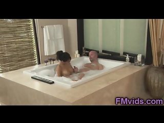 Sexy Asa Akira plays with cock in the bathtub