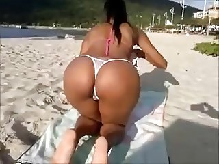 Wife on The Beach With  Thong Bikini  2015