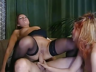 Sylvia Laurent & Linda Slim (Black & White Stockings) FFM