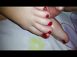 footjob with cum on foot