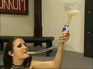 Hailey Young drinks cum