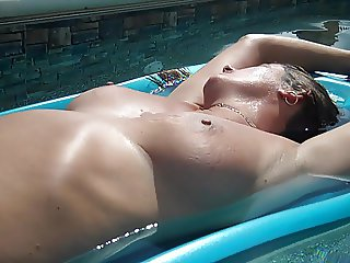 nude in the pool