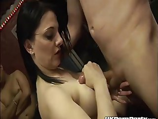 Amateur swingers gangbang party in a UK sex club