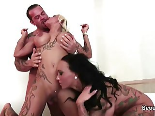 Two German Step-Sisters get fuck Threesome by Big Dick Boy
