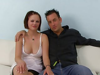 Redhead slut fucks a black guy in front of her husband