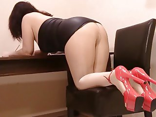 In my office with shiny pantyhose