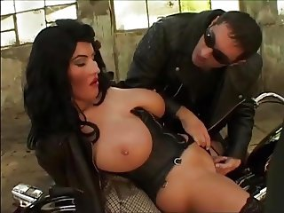 Giant tits biker girl fucked in an abandoned factory
