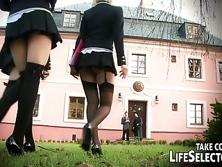 Brash schoolgirls in foursome lesbian act