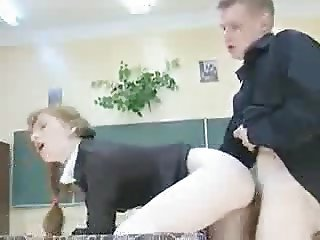 Ginger Pigtailed Schoolgirl Gets Her Teachers Cock !