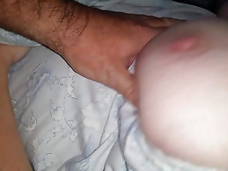 feeling her sexy soft natural hairy pussy,shake her tit
