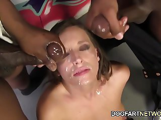 Jamie Jackson Having Fun With A Bunch Of Black Cocks
