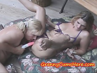 A HOT sweaty MILF and a PUSSY loving GRANNY