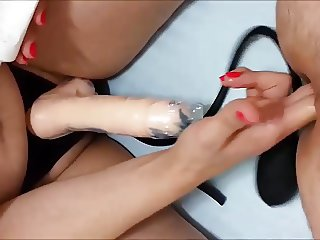 Wife Fingering and Pegging my Ass