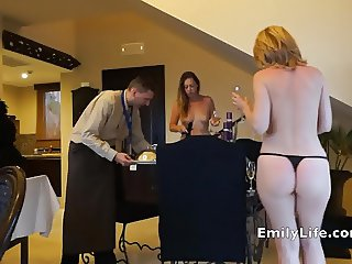 Naked milfs open for the room service