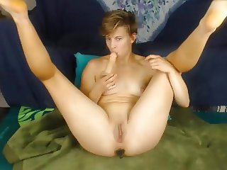 Skinny slim chick fingers and fucks little pussy with dildo