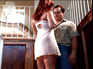 Chick in white outfit gets banged