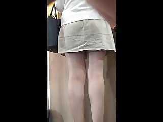2 Pantyhose Ladies with amazing legs , upskirt!
