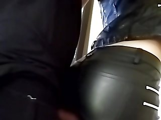 rubbering my cock with girl in leather