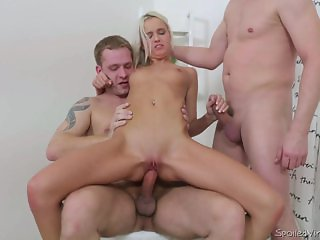 Sweet Blonde Joelyn Burst Fucked By Two Guys