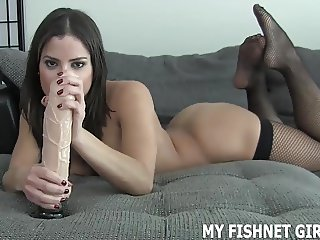 Run your hand up my sexy fishnet stockings JOI