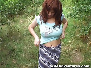 Busty and hairy wife fucked in the ass outside in the woods