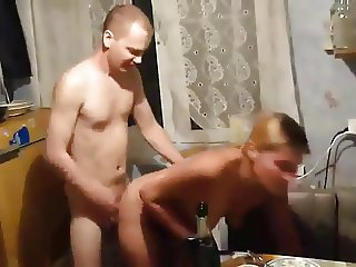 To make love to his wife in the kitchen