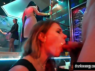 Naughty pornstars fucking in a club