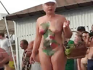 Nice granny painted body
