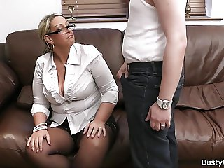 Big tits in uniform riding him at work