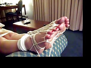 Barefoot tied feet girls cums w hitachi