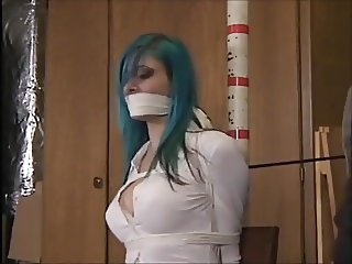 Blue haired woman in basement