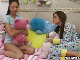 Latin cuties sharing one cock