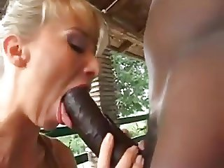 Blonde European Milf sucking fucking big black cock