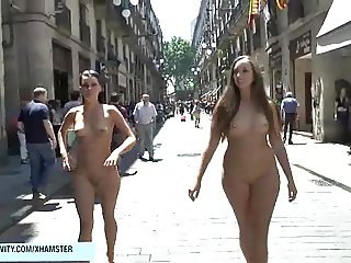 Crazy german chick naked on public streets