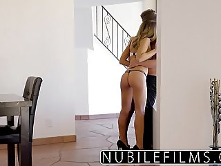 NubileFilms - Teen licks jizz from babes pounded pussy