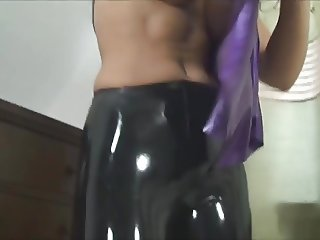 shiny latex ass
