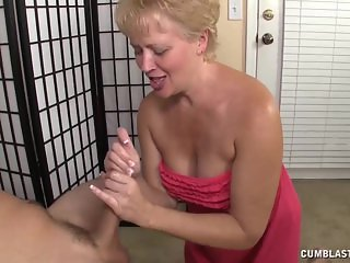 Cum splatter for the busty milf