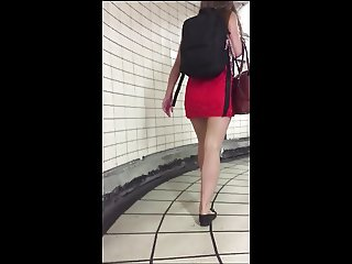 Sexy teen tight mini dress heel popping