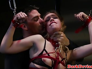 Roped button slut Lyra Louvel roughly rammed