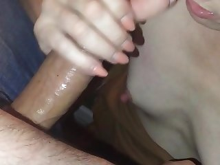 Milf gives blowjob to young guy