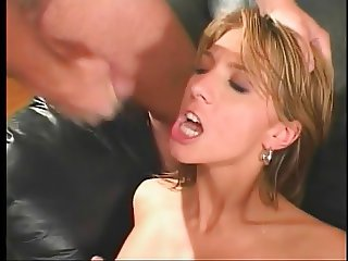 Two dicks ramming her pussy and ass